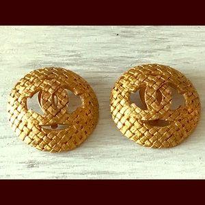 CHANEL Gold Vintage Basket Weave Earrings